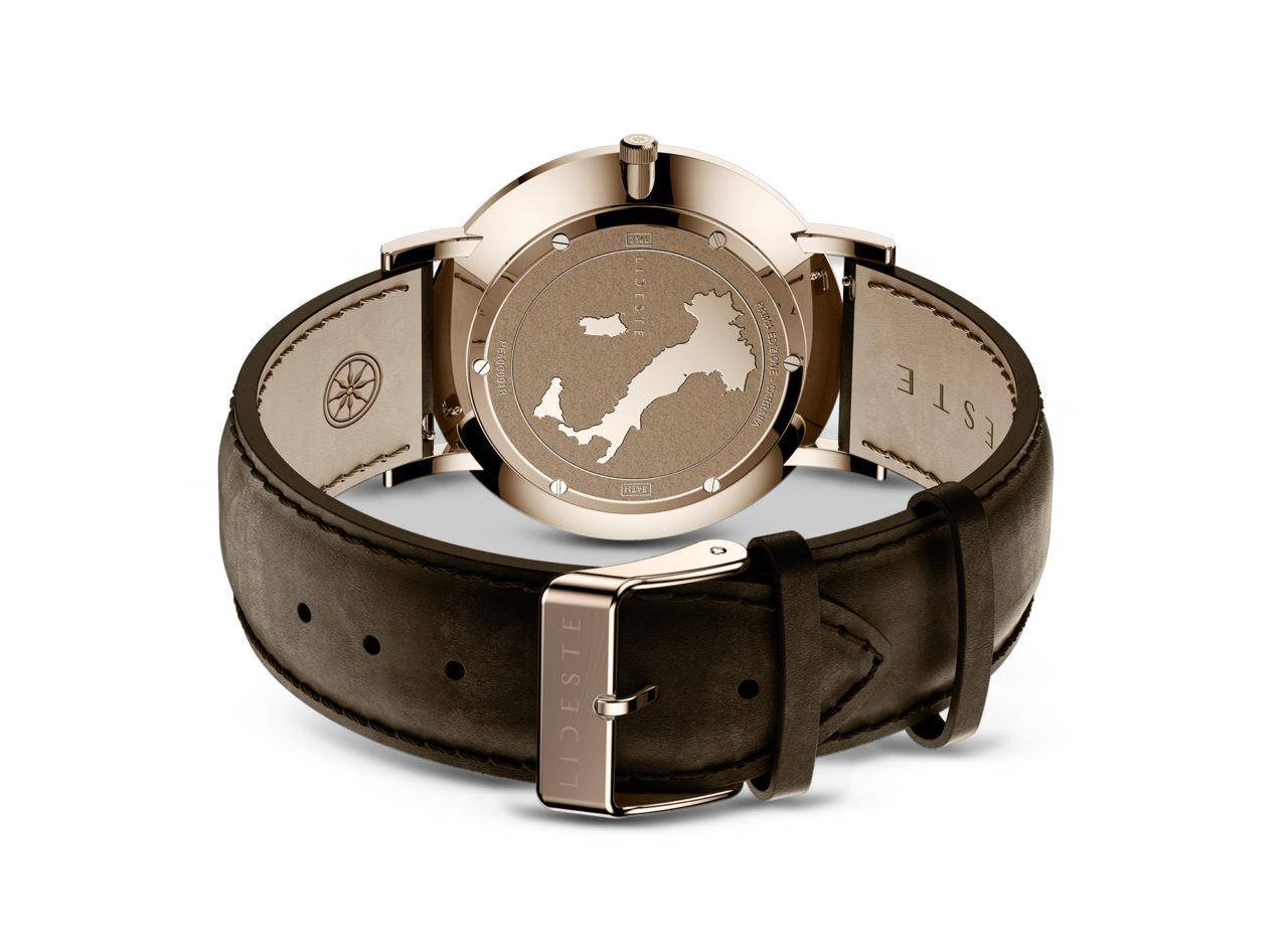 engraved case back of rose gold brown leather watch