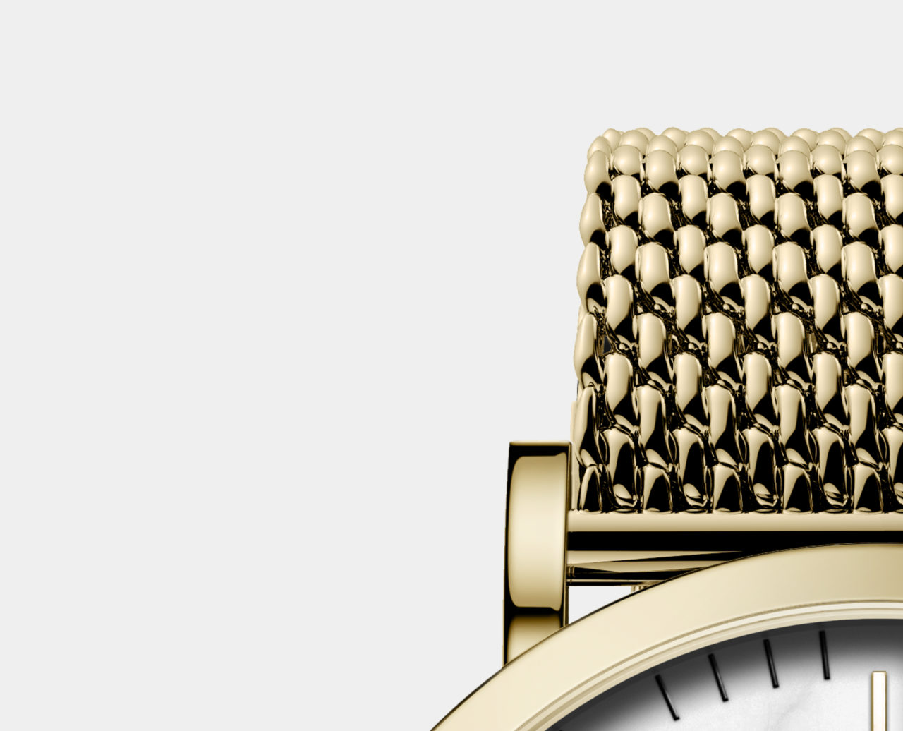gold milanese mesh strap watch