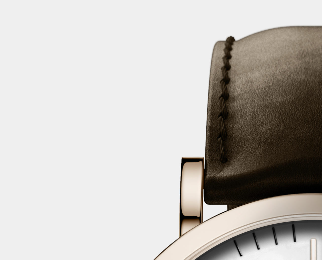 rose gold leather watch with brown leather strap