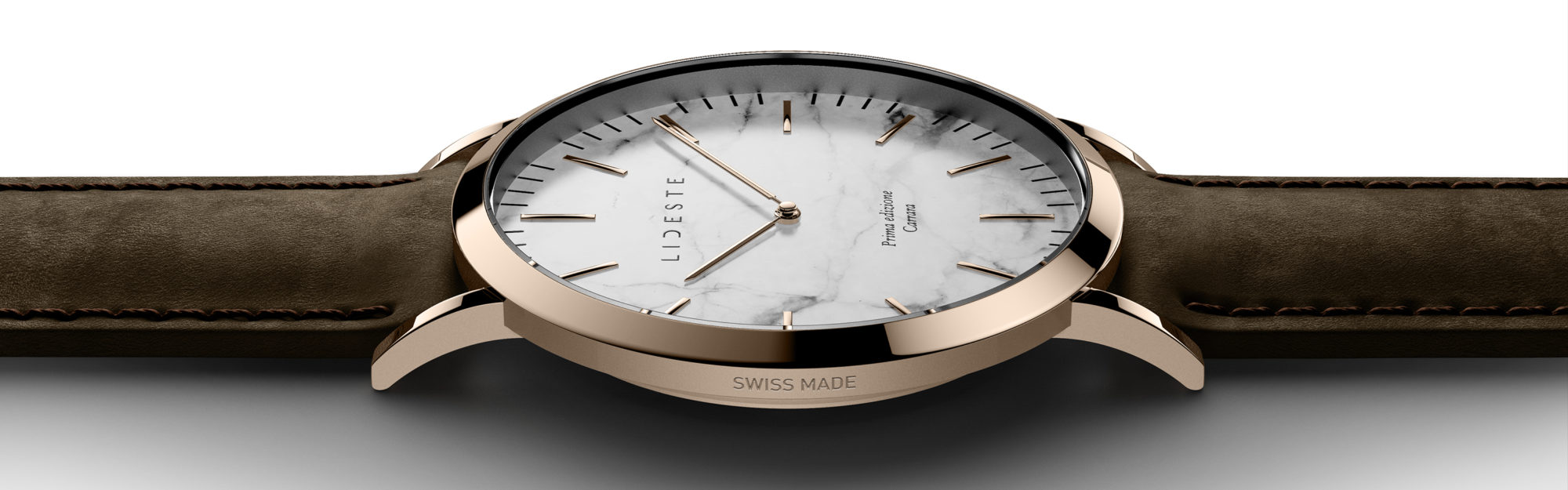 rose gold leather watch with brown leather strap for men and women