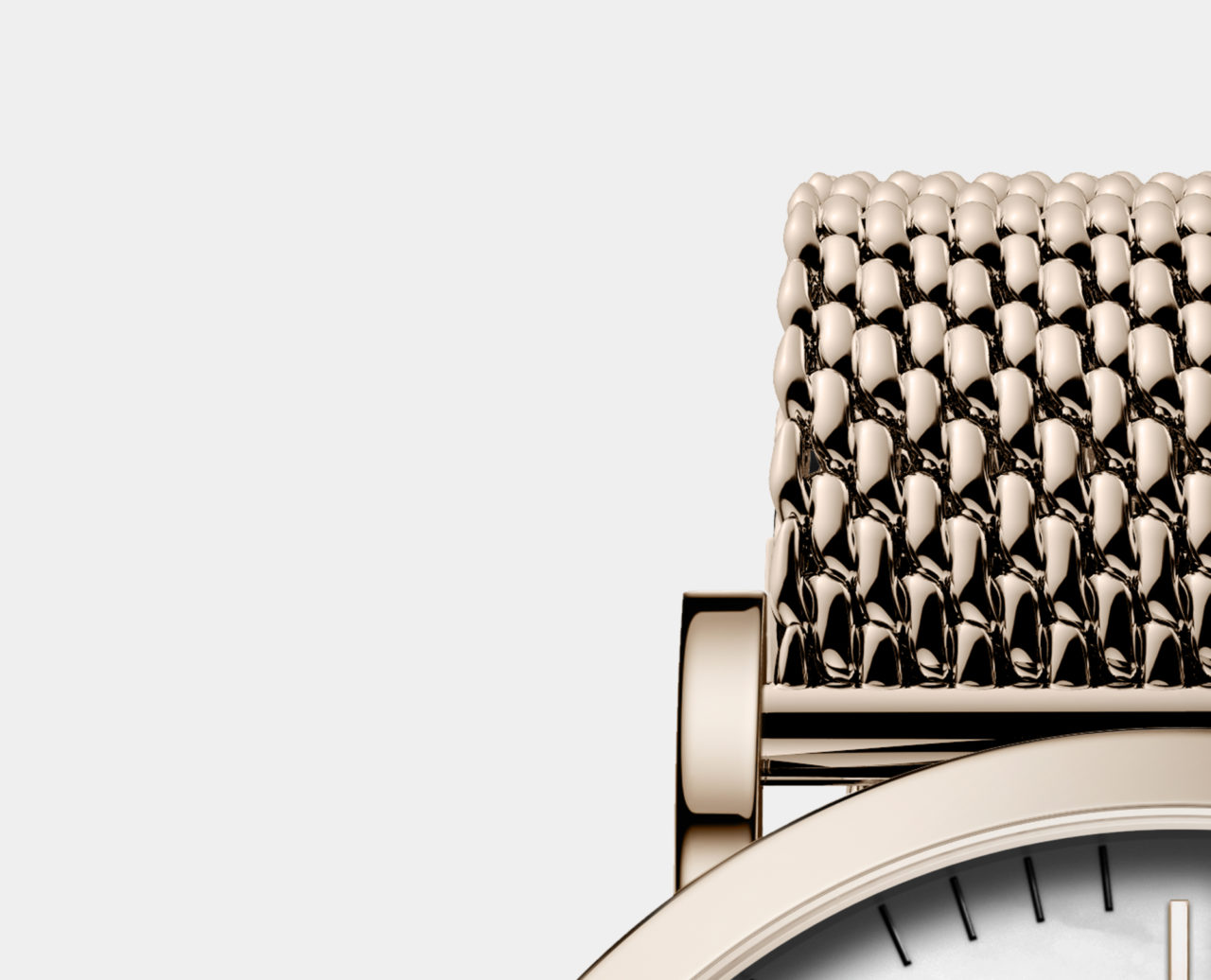 rose gold milanese mesh strap watch