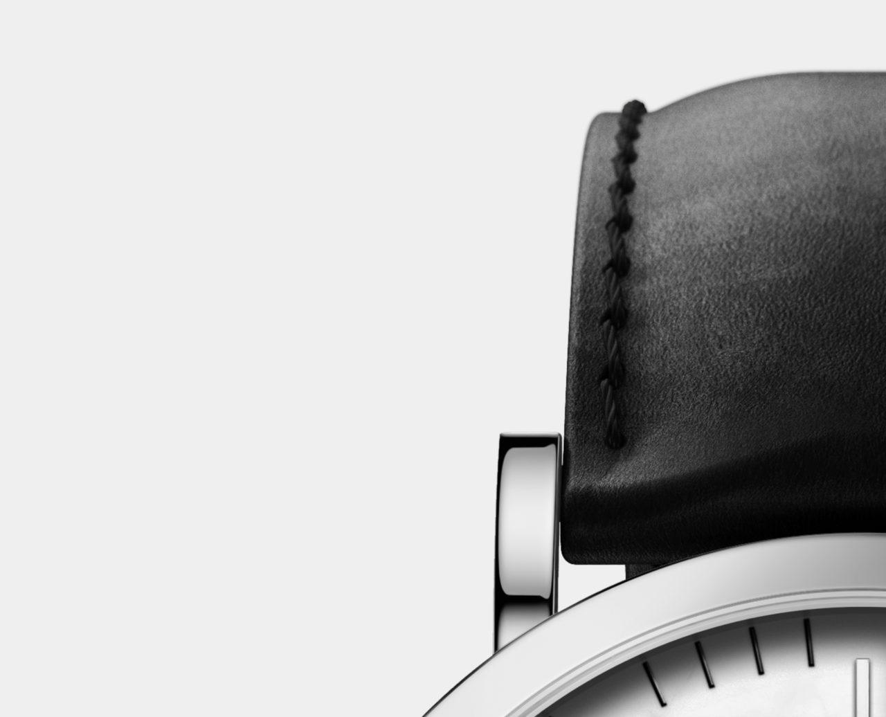 silver black leather strap watch