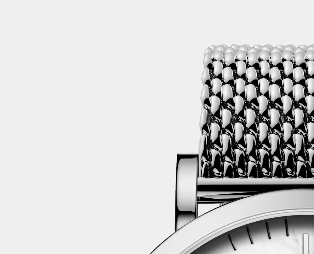 silver milanese mesh strap watch