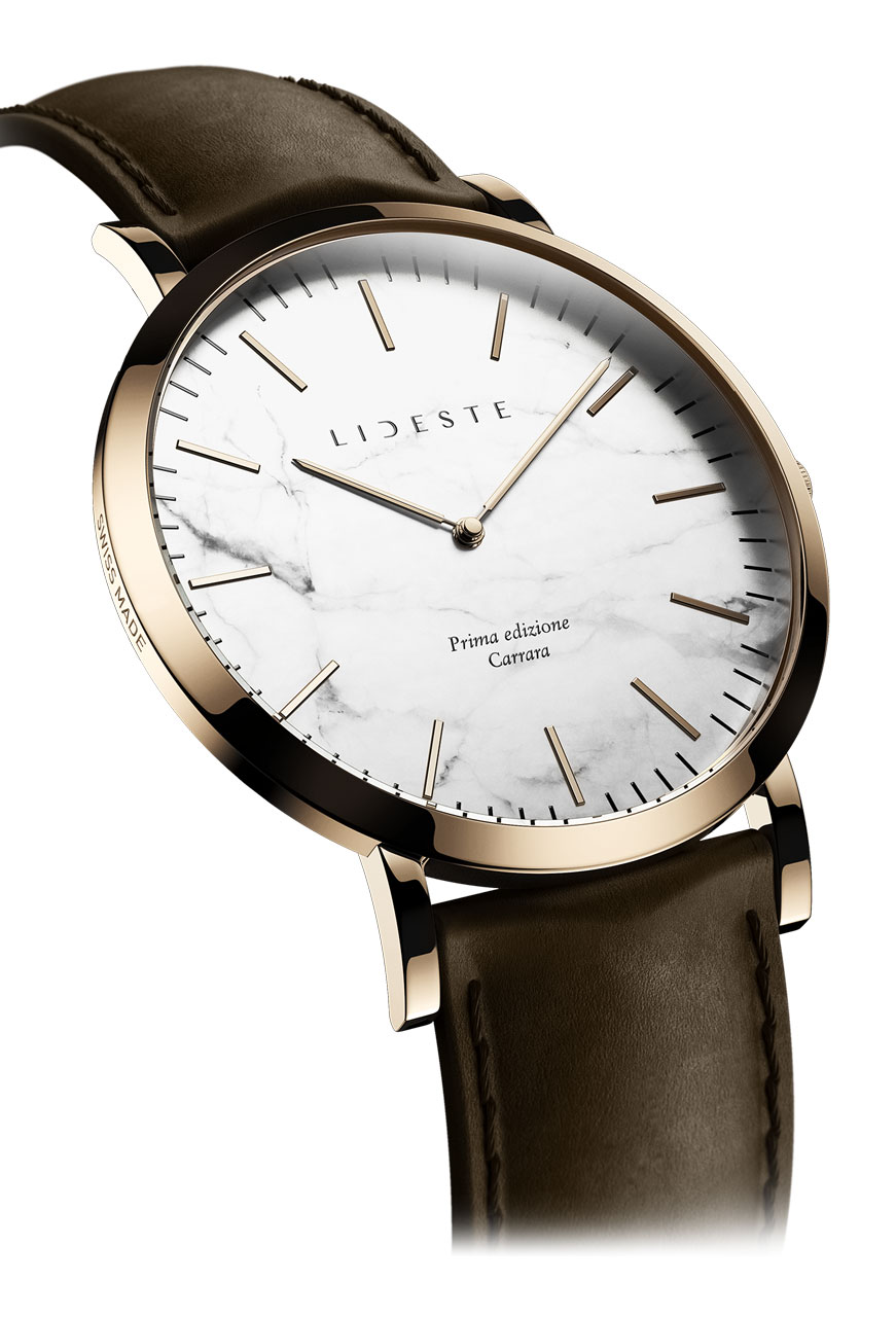 e8f3fdbe7a9fc Rose Gold Leather Watch | With Italian Marble | Lideste