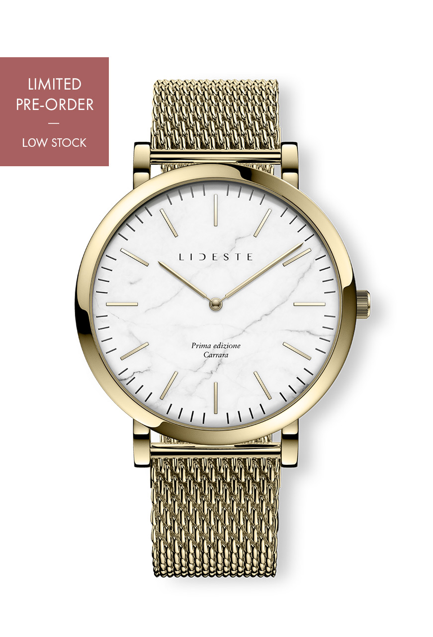 4ac1c791d55ed Gold Mesh Watch | With Italian Marble | Lideste